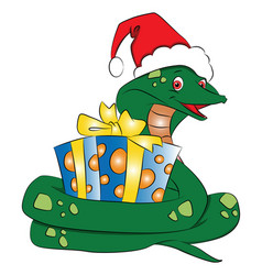 santa snake with gift vector image vector image