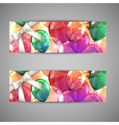 Set of holiday banners with multicolored balloons vector