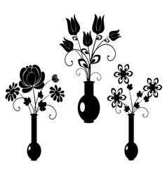 silhouette flowers set 3 vector image