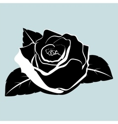 silhouette of rose flower with leaves vector image vector image