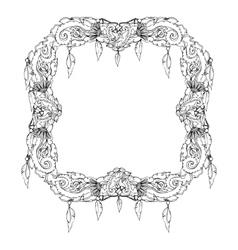 Swirl floral frame Old black doodle border vector image vector image