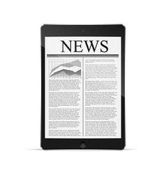 tablet with news article on screen vector image vector image