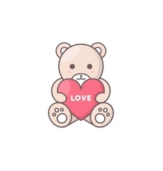 Teddy bear holding heart vector