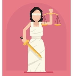 Themis femida with scales and sword symbol of law vector
