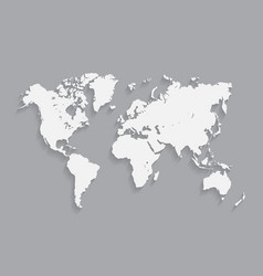 White world map with shadows vector