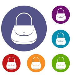Woman bag icons set vector