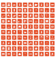 100 comfortable house icons set grunge orange vector image vector image