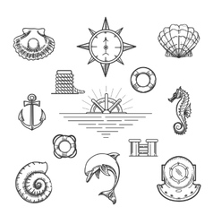 Doodle nautical decor element set vector