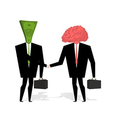 Brain and money Transaction business Brain and vector image