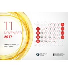 Desk Calendar for 2017 Year November Week Starts vector image