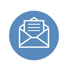 Receive mail icon in blue circle vector