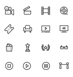 icons on the theme of cinema and films vector image
