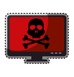 Sticker color silhouette of lcd monitor with virus vector