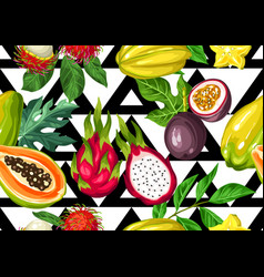 Seamless pattern with exotic tropical fruits vector