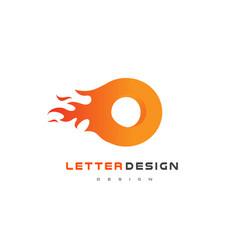 o letter flame logo design fire logo lettering vector image