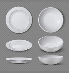 White empty ceramic plate in different points of vector