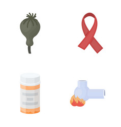 Aids tape tablets opium poppy a tube for vector