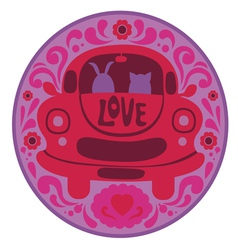 Valentine print with retro car vector