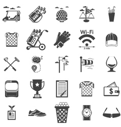 Collection of black icons for golf vector