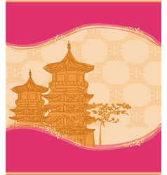 Old paper with chinese temple on abstract asian vector