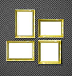Hanging paper sign frame gold picture shadow vector