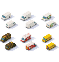 Isometric step vans set vector
