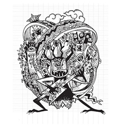 Hand drawn monster rock band playing rock music vector