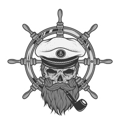 Captain skull and sea helm vector