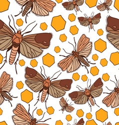 Seamless pattern with wax moth vector