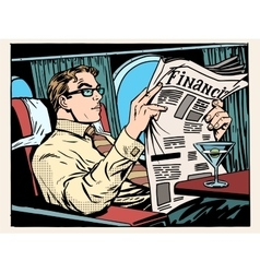 Business class plane businessman reads the press vector