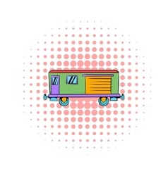 Railroad carriage icon comics style vector