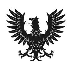 Black heraldic eagle in aggressive posture icon vector