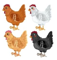 Cartoon chicken different colors animals vector image