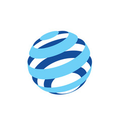 abstract logo of a globo made of blue stripes on a vector image