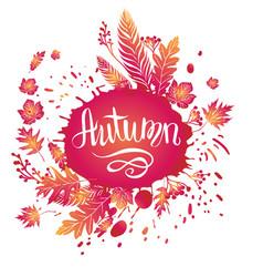 Autumn bright card vector