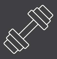 Barbell line icon fitness and sport dumbbell vector