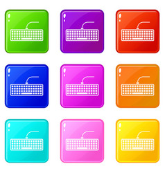 Black computer keyboard icons 9 set vector