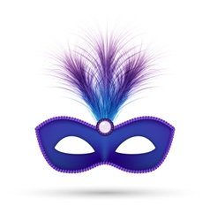 Blue carnival mask with fluffy feathers isolated vector