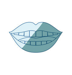 Blue shading silhouette of smiling mouth vector