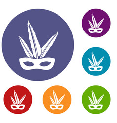 Carnival mask icons set vector