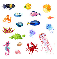 Cartoon colorful sea life set vector
