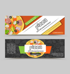 Cartoon pizza pizzeria flyer background vector