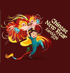 Chinese lunar new year lion dance fight isolated vector