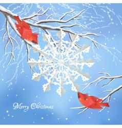 Christmas snowflake birds tree branch background vector image