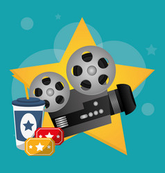 Cinema movie projector tickets and soda drink vector