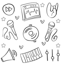 Collection stock music various hand draw doodles vector