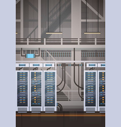 Data center room hosting server computer vector