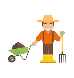 farmer or gardener holding a pitchfork and vector image vector image