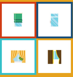 Flat icon window set of glass frame glass clean vector