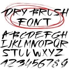 Hand drawn font brush stroke alphabet grunge vector